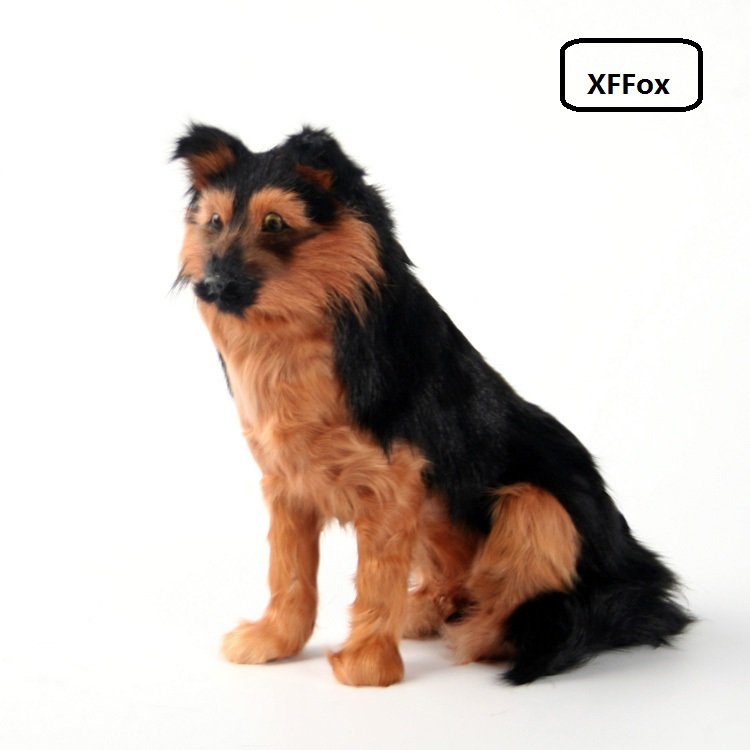 cute real life sitting dog model plastic&furs black wolfhound dog doll gift about 15x13x25cm xf1513