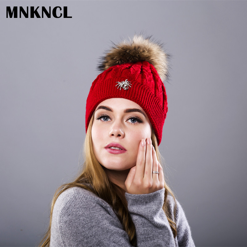 MNKNCL Winter Wool Knitted Hat Spider Labeling Beanies Real Mink Fur Pom Poms Skullies Hat For Women Girls Hat Feminino lucky child фиолетовый