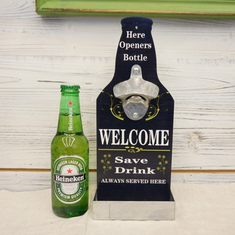Beer Bottle Shaped Wall Mounted Bottle Opener with Cap ...