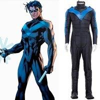 Новое поступление 2016 супергерой Бэтмен Nightwing Робин Карнавальный костюм для взрослых мужчин Косплей Комбинезоны для женщин маска перчатки п