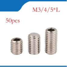50Pcs/lot DIN914 M3 M4 M5 304 Stainless Steel Grub Screws Cone Point Hexagon Hex Socket Set Screws bolts,nails