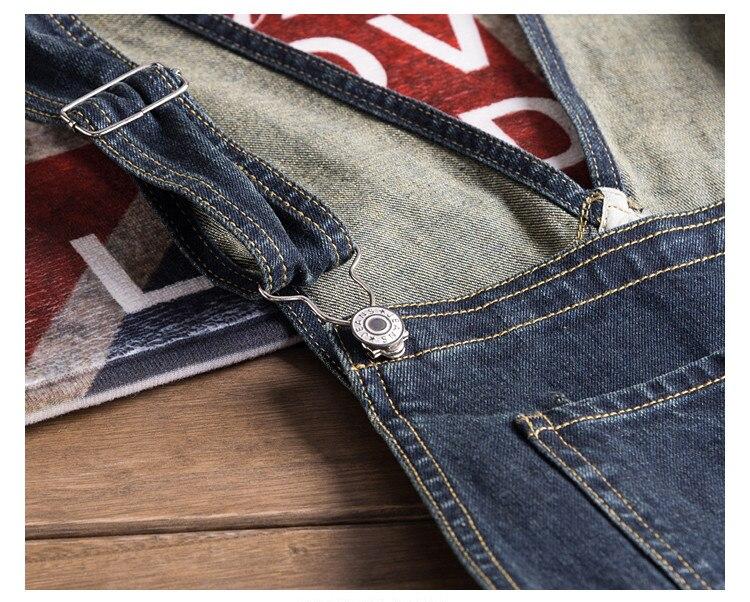 Men Denim Bib Jumpsuit Hip Hop Slim Fit Casual Jean Pants Dark Blue Streetwear Male Suspenders Jumpsuit Size S-2XL (10)