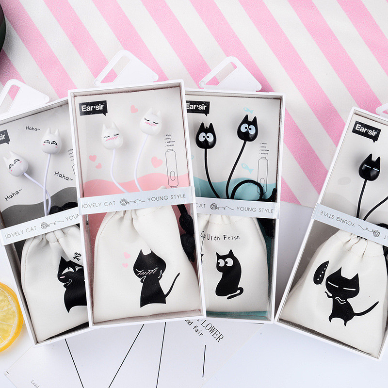 Chiclits Earphone Cute cartoon cat 3.5 mm stereo with mic In-ear headset for iPhone Xiaomi Girls Kids student for Mp3 Mp4 gifts (3)