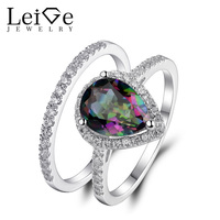 Leige Jewelry Mystic Rainbow Ring Natural Gemstone Pear Cut 925 Silver Wedding Promise Rings Set For