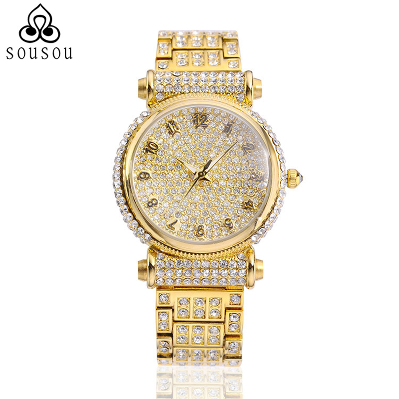 Full Diamonds Luxury Ladies Watches Women Fashion Watch 2016 Quartz-Watch Rose Gold Watch Relogio Feminino цена и фото