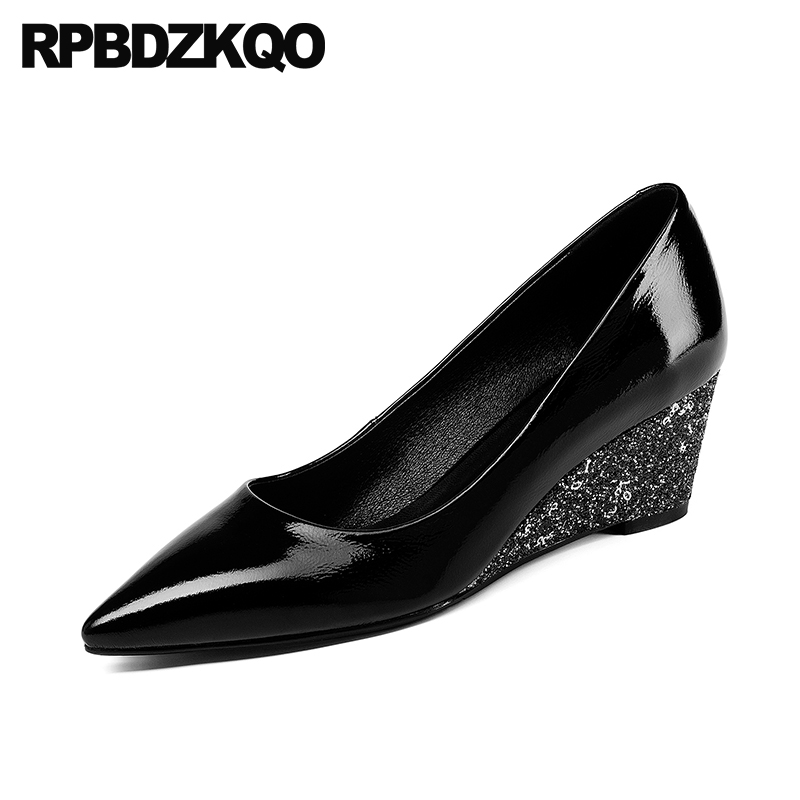Genuine Leather Pointed Toe Pumps Bride Glitter 2018 Sequin Size 4 34 Black Medium Heels High Wedge Wedding Shoes Bridal Women tracksuit for kids boys girls clothing sets cotton children clothes baby birthday spring 2018 new year toddler casual blouse