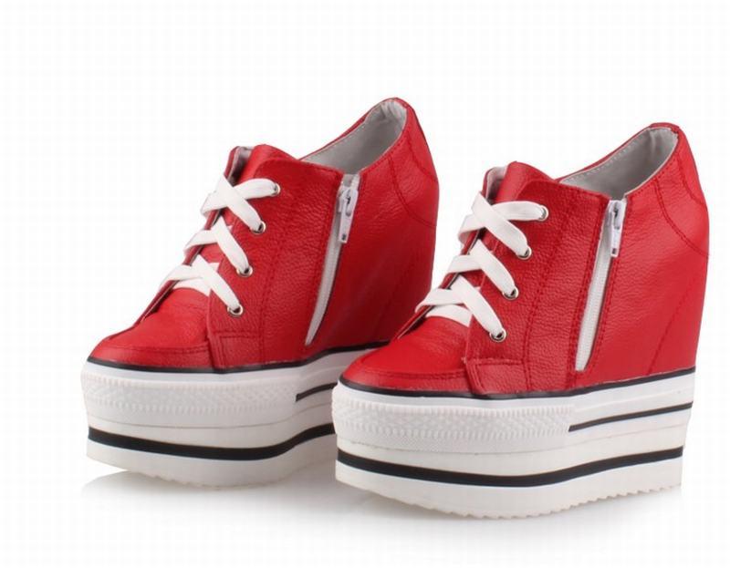 Casual De Auténtico Aumento Cuñas Plataforma Up La Zapatos Altura Mujeres red white Moda Transpirable Gruesos Black Black Cuero 100 Encaje Solo all Cremallera Inferiores Ipp7Sqz