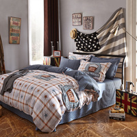 Plaid Stars Pattern Printed Duvet Cover Set Twin Queen Double Size Cotton Flat Bedsheet Comforter Case