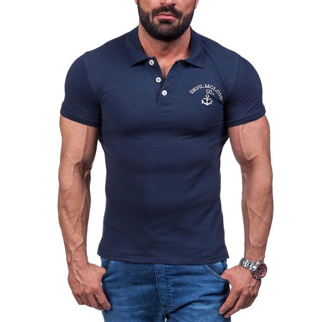 MarKyi 2017 Nuevo Verano Casual Camisa de Polo Para Hombre Silm Fit Algodón  Bordado Ancla Diseño 47ea9f4586e05