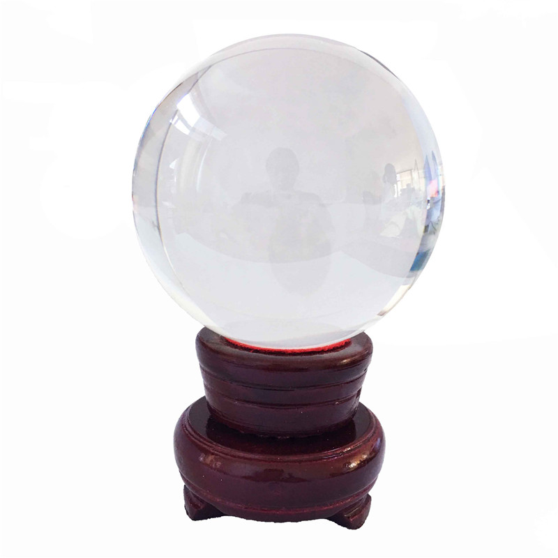 80mm 1pcs/Lot Wooden Base Crystal Fengshui Glass Balls Clear Glass Parts For Birthday Gift Wholesales|Chandelier Crystal| |  -