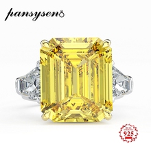 PANSYSEN Genunie 925 Sterling Silver Charms 14x16MM Moissanite Propose Engagement Rings For Women Wedding Fine Jewelry Size 5-12