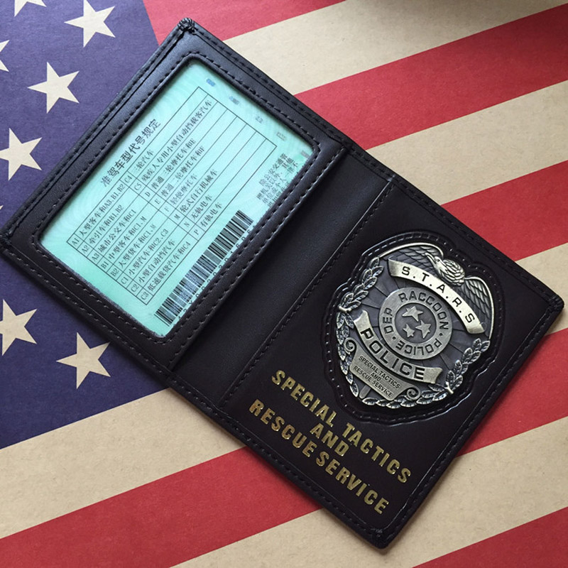 ZSQH Cosplay Resident Evil Stars Police Leon/Chris/Jill/Wesker Metal Badge PU Leather Case Holder ID Cards Driving Wallets