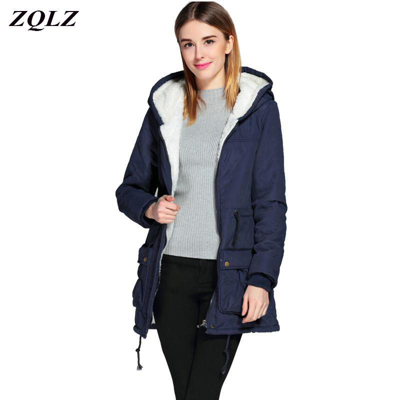 Winter Jacket Women 2017 New Slim Hooded Thick Zipper Fashion Long Cotton Coat Casual Plus Size Ukraine Mujer   Parka