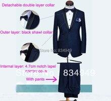 Skyfall Navy Blue Tuxedo Men Suit Custom Made,Skyfall Midnight Blue Wedding Suits For Men,Bespoke Double Collar Tuxedos For Men