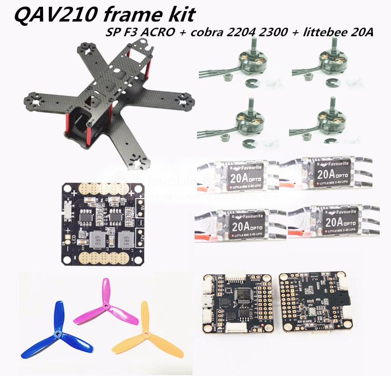 FPV QAV210 quadcopter mini drone frame kit pure carbon frame + cobra 2204 2300KV motor + littlebee 20A ESC +SP racing F3 Acro new qav r 220 frame quadcopter pure carbon frame 4 2 2mm d2204 2300kv cc3d naze32 rev6 emax bl12a esc for diy fpv mini drone