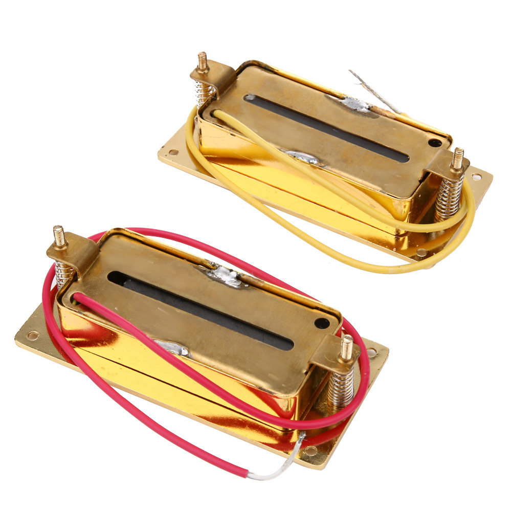 1 Pair Mini Humbucker Pickup Electric Guitar Gold Mini Humbucker Pickup Neck Bridge Set With 6 Pole Piece Guitar Pickups belcat electric guitar pickups humbucker alnico 5 humbucking bridge neck chrome double coil pickup guitar parts accessories