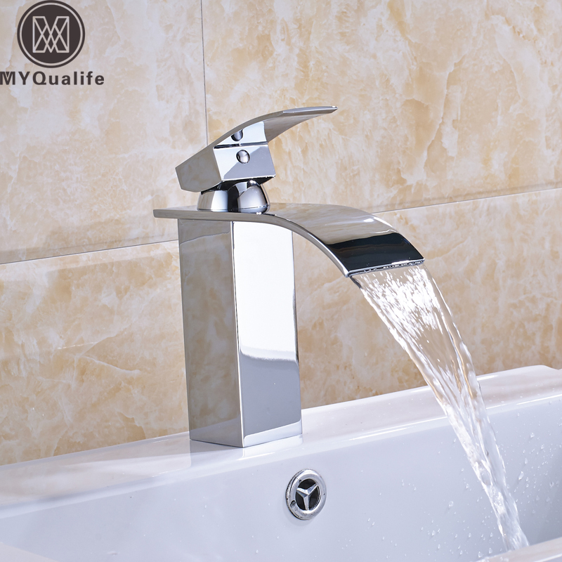 Bright Chrome Bathroom Basin Faucet Deck Mounted Vessel Sink Waterfall Mixer Tap Single Handle One Hole old carp 1 4 galaxy bl multi led wireless fishing rod bite alarm with snag ears and tent light for carp fishing