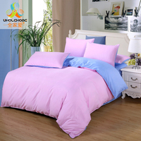 Poltester Fibre Bedding Set Sanding Solid Bed Sheet Pillowcase Quilt Cover Pillow Cover Decoration Bed Bedroom