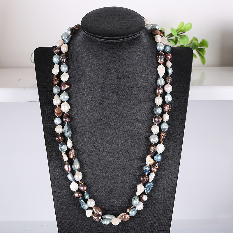 Fashionable women's natural pearls with long necklaces and soft light identification design imitation pearls long chain necklaces