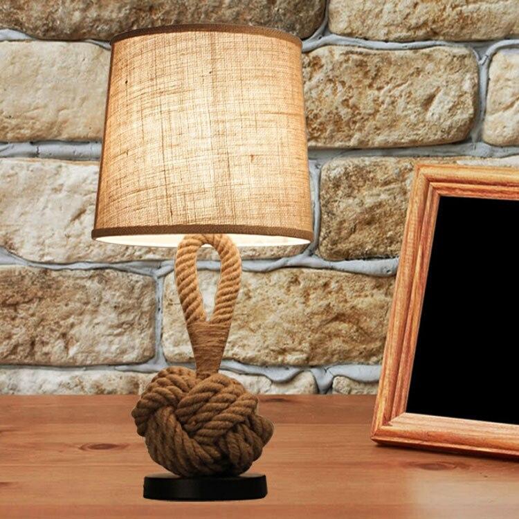 Vintage Rope Table Light de mesa Desk Lamp MesaLamps Rope Table Lamps LED Bedroom Living Room Bedside Lamps Night Lighting