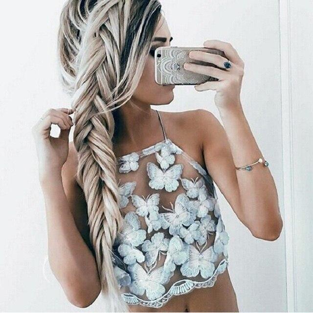 Elegante mujeres crop top de encaje 2016 verano del partido blanco corto backless halter tops de cuello Alto niñas cami tank top