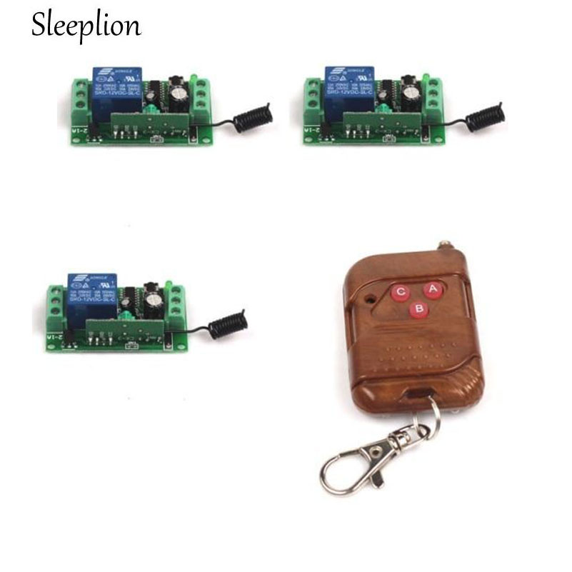 Sleeplion DC 12V 10A Relay 1CH RF Wireless 3-Key Remote Switch Transmitter+3 Receiver 315/433MHz ON/Off