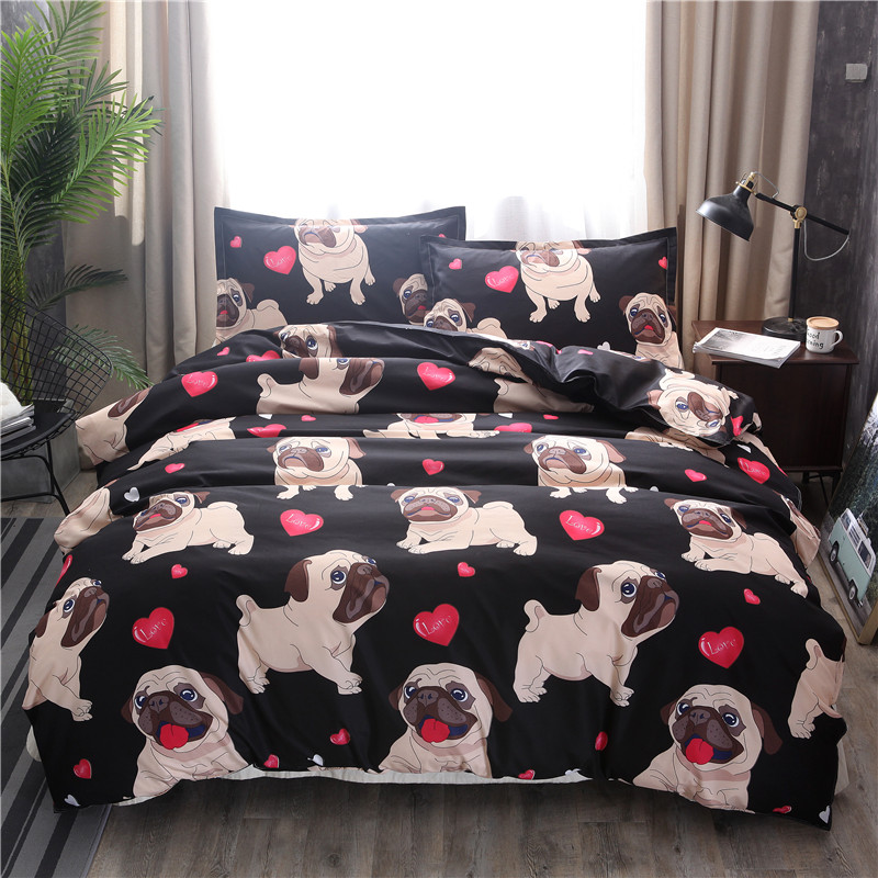 Black Pug Printed Bedding Sets Heart Dog Duvet Cover Set 2/3pcs Bed Set Double Queen Quilt Cover Bed linen (No Sheet No Filling)-in Bedding Sets from Home & Garden on Aliexpress.com | Alibaba Group