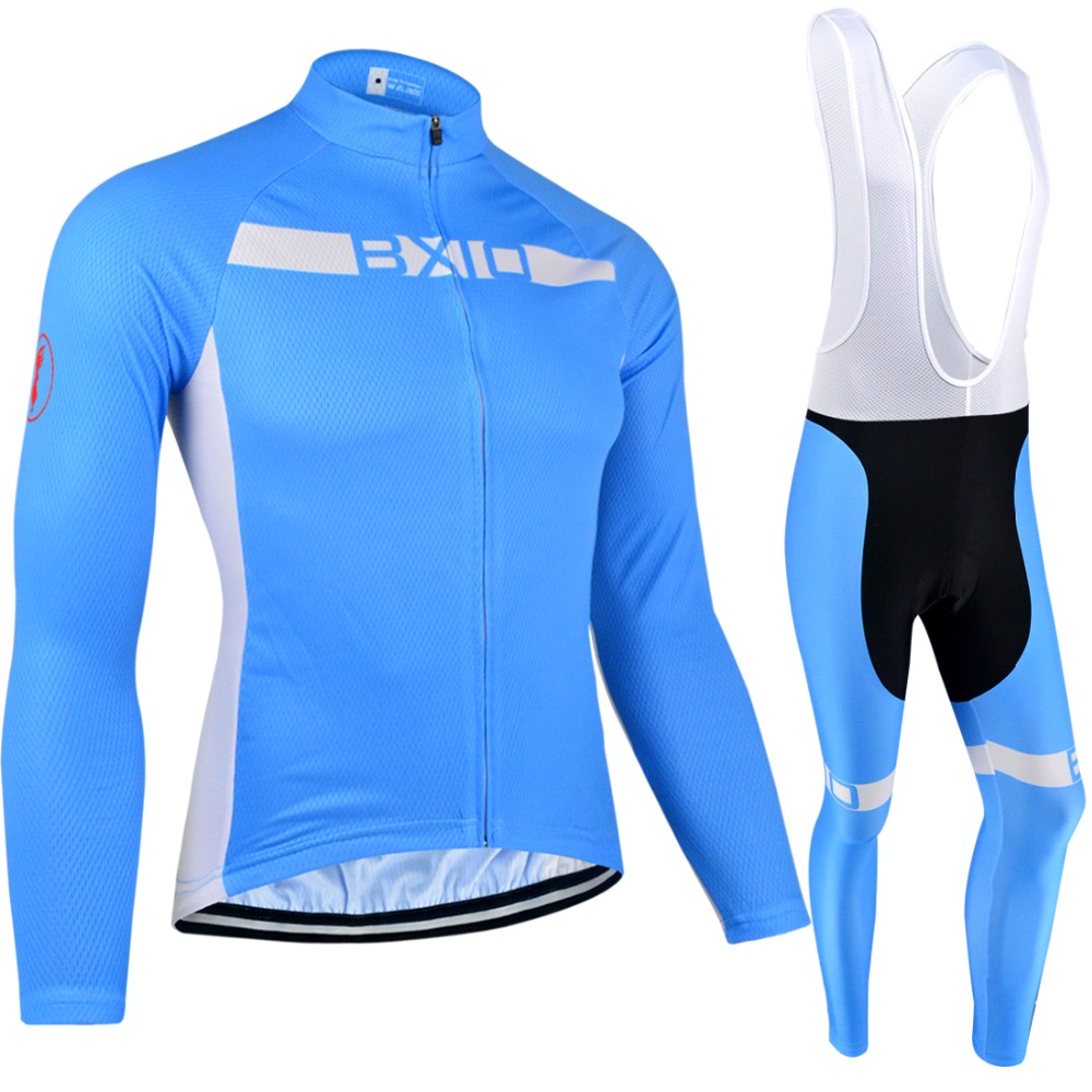 BXIO Invierno Ropa Ciclismo Winter Bicycle Clothes Blue Color Thermal Fleece Long Sleeve Bike Clothing Autumn Cycling Jersey 099 x tiger winter long cycling jersey set racing bike thermal fleece ropa roupa de ciclismo invierno bicycle clothing cycling set