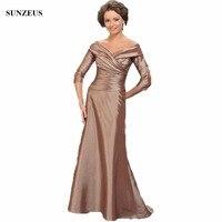 ארוך טפטה אמא של שמלת הכלה אונליין אלגנטי פשוט צווארון V כבוי כתף המפלגה כותנות vestido madrina רגוס CM021
