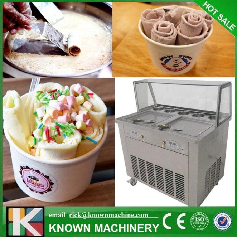 Double casseroles froides carrées de 35 cm avec 5 réservoirs de garniture machine à rouleaux de crème glacée frite avec réfrigérant R410A (livraison gratuite par mer)