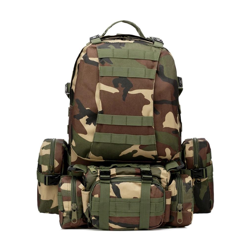Sac à dos militaire extérieur 50L sac à dos Camping randonnée sac de Trekking (camouflage Jungle)