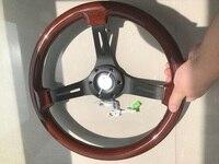 universal 350mm /14inch chrome spoke Wood Phoebe steering wheel racing car steering wheel three racing Phoebe black color for V