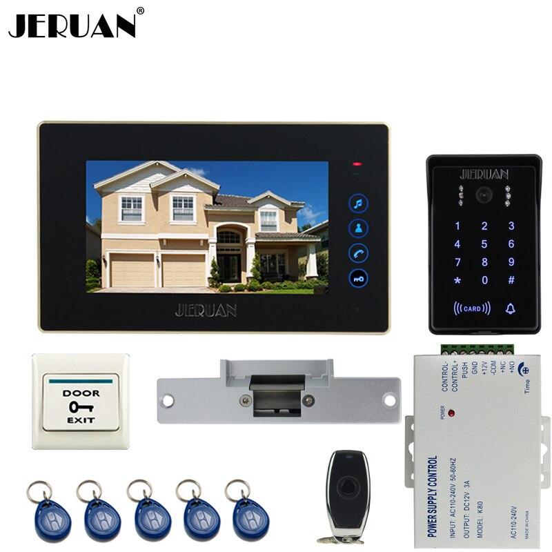 JERUAN Wired 7`` Touch key video doorphone intercom system kit waterproof touch key password keypad camera Cathode lock