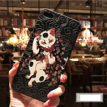 Para iphone 7 funda 8 7 plus 3D Fox Koi anime fundas de teléfono de lujo en relieve mate funda Retro para iphone 6 6S plus XS MAX XR 11(China)