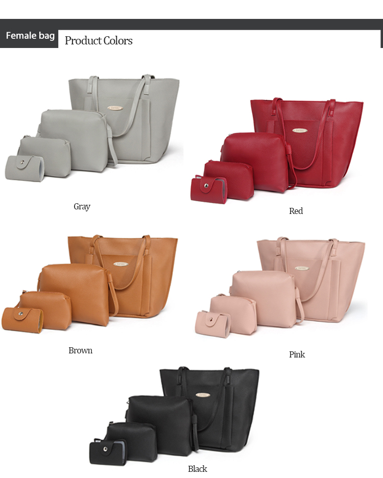 Women's 4 Piece Set Leather Designer Shoulder Bags