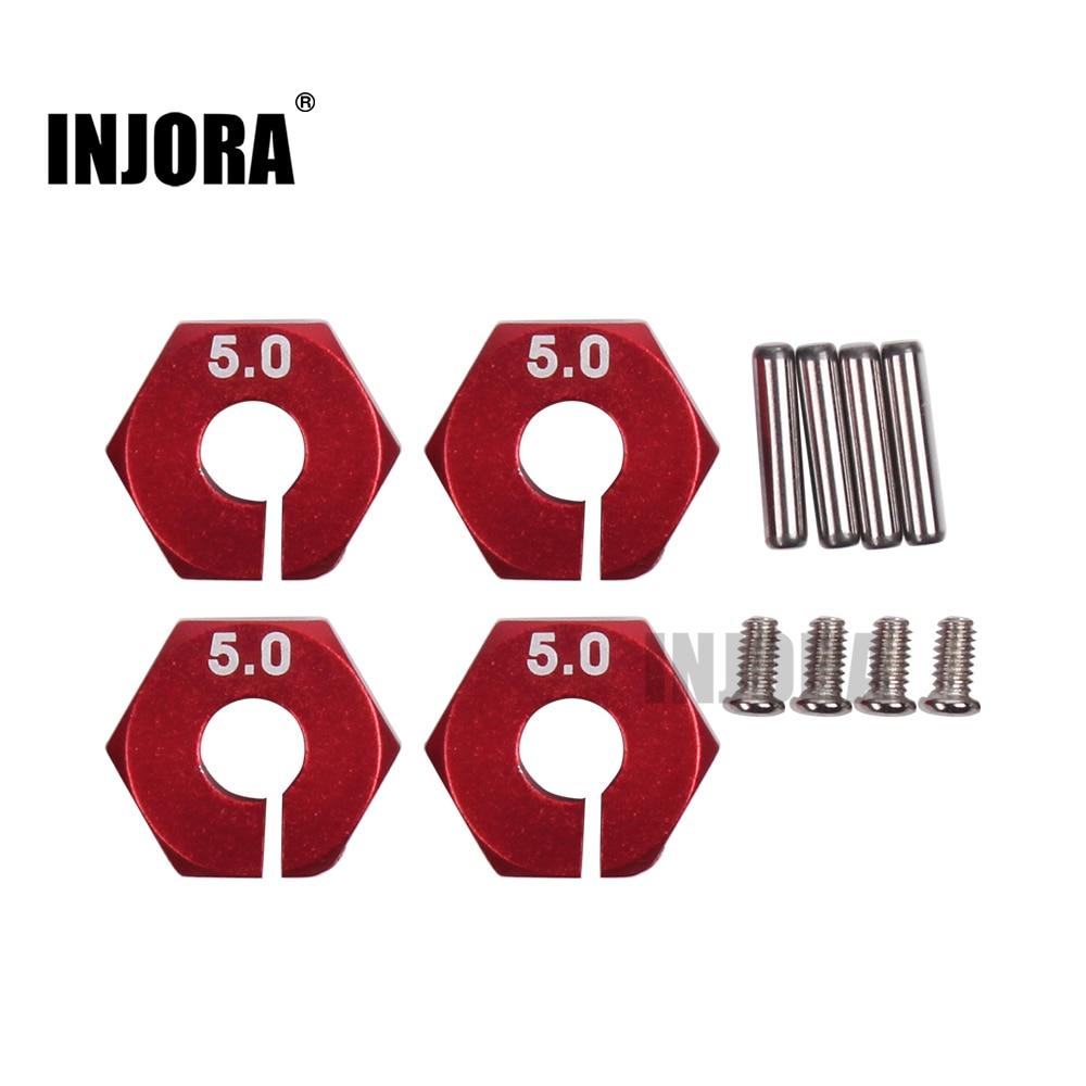 INJORA 4Pcs/set Metal 12MM Wheel Hex for 1/10 RC Car Traxxas HSP Tamiya RC Crawler Axial SCX10 RC4WD D90 injora 4pcs red metal bumper d ring tow