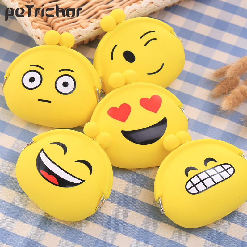 Fashion Lady Female Small Coin Purse Oval Cute Emotions Change Bags Girls Money Wallets Silica Gel Ladies Hasp Mini Bag