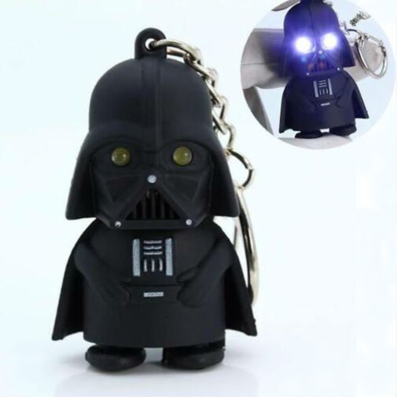 LED Flashlight Keychain Darth Vader Star War Anakin Skywalker Figure Keychains Black Key Chain Rings Men Women Jewelry 2016