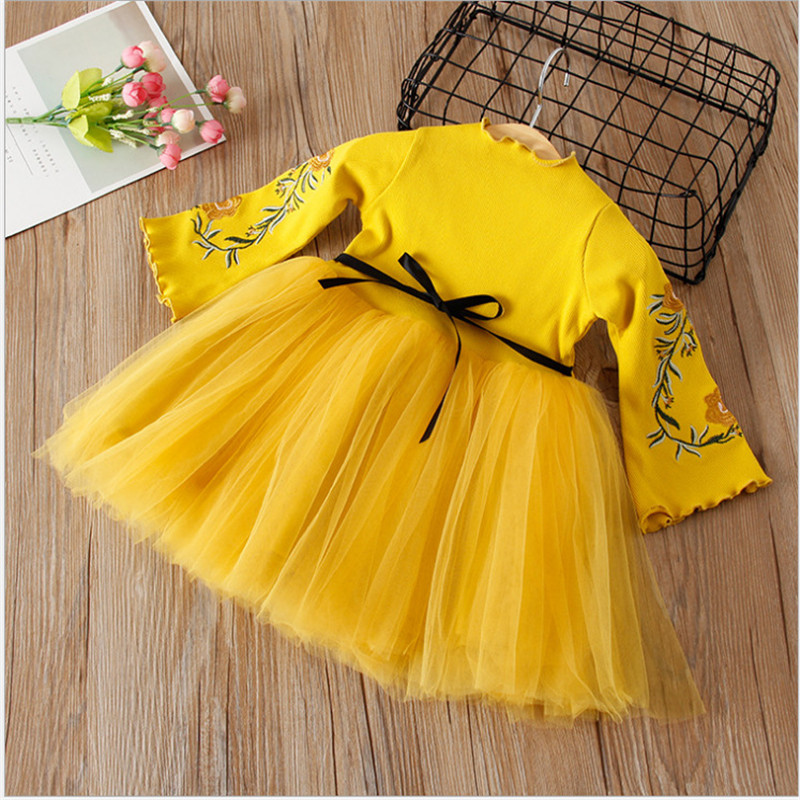 Hurave mesh clothing Kids cute summer Baby Girl solid embroidery lace Dress Clothes Children Long Sleeve princess Dresses hurave 2018 summer clothing sleeveless baby girl clothes children dress plaid cotton kids clothes casual drawstring dresses
