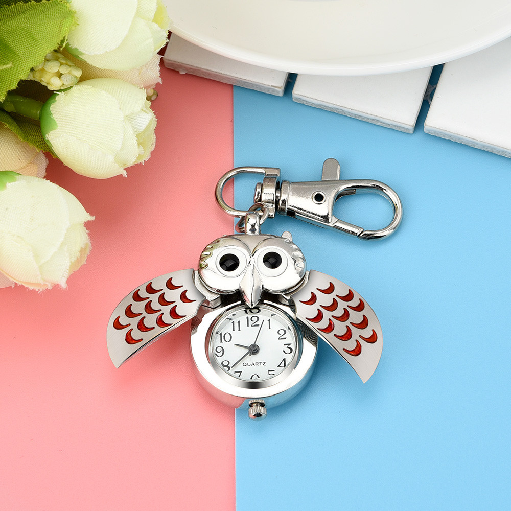 High Quality Pocket Watch Hot Sale Fashion Owl Retro Watch Key Buckle Watch Necklace Pendant Watch Jewelry Quartz Watch Gift #W
