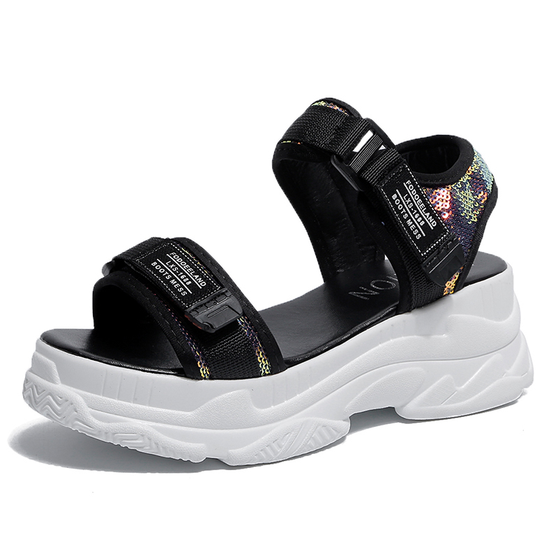 HTB16vvrd8iE3KVjSZFMq6zQhVXa9 - Fujin Summer Women Sandals Buckle Design Black White Platform Sandals Comfortable Women Thick Sole Beach Shoes