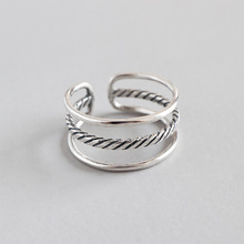 HFYK 925 Sterling Silver Ring For Women Vintage Line Opening Jewelry bague femme argent anillos mujer