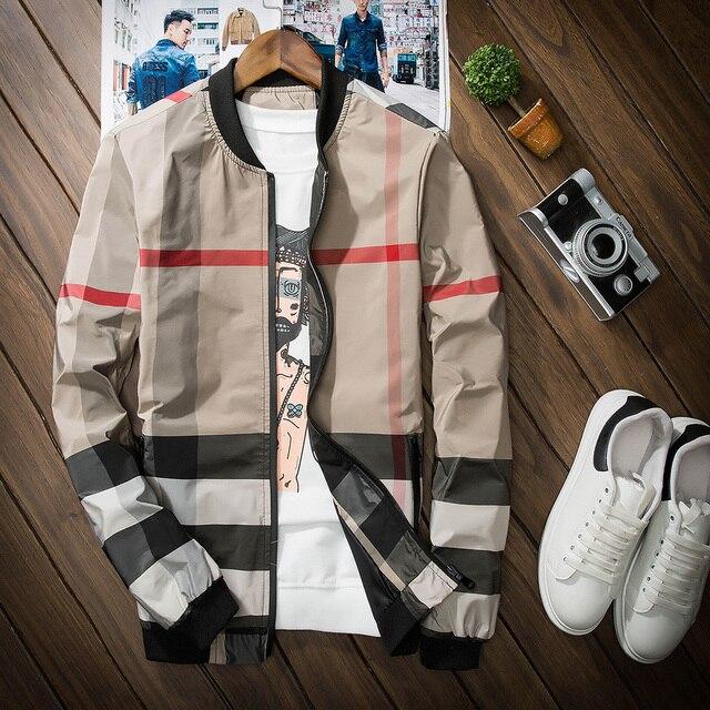 Burrima 2017 New Men Spring Plaid Bomber Jackets Jaqueta Masculina Veste Homme Overcoat Khaki/Gray Tactical Windbreaker