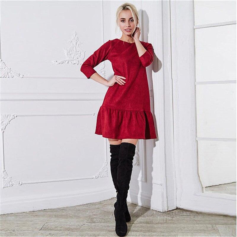 Fall 2018 Women Suede Casual Three Quarter Sleeve T Shirt Mini Dress Autumn Winter Fashion Vintage Ruffle Christmas Dresses 8