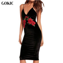 GOKIC 2017 autumn winter retro sexy Rose embroidered Package Hip black velvet dress shoulder-straps cami bodycon dress