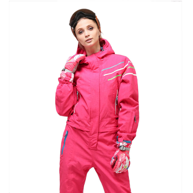 28bf28f0d61 2018 Waterproof Snowboarding One Piece Skiing Jumpsuit Women Snowboard 30  Degrees Snow Ski Suit Winter Clothing Coverall-in Skiing Jackets from  Sports ...