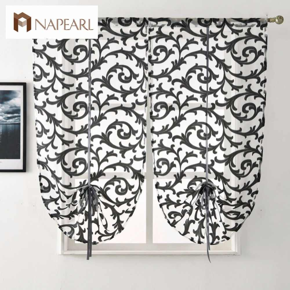 Short kitchen curtain modern window treatment tie up balloon curtain home textile sheer curtain panel tulle white black jacquard