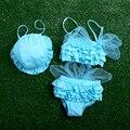3 PCS / 2-cinco anos / crianças fatos de banho para bebê meninas de biquíni moda rendas Swimwear arco trajes de banho da criança crianças Swimsuit