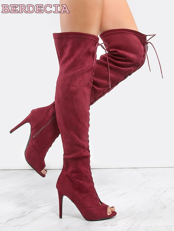 New arrival style red suede leather long boots peep toe cross strap thigh high boots lace up stiletto heel shoes for women party  light khaki boots for women rivet peep toe platform boots studded suede women stiletto heel open toe sandal boot womens leather