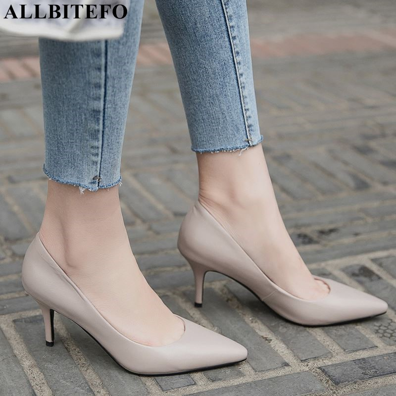 ALLBITEFO genuine leather party women heels pointed toe sexy shallow high heel shoes slip on spring